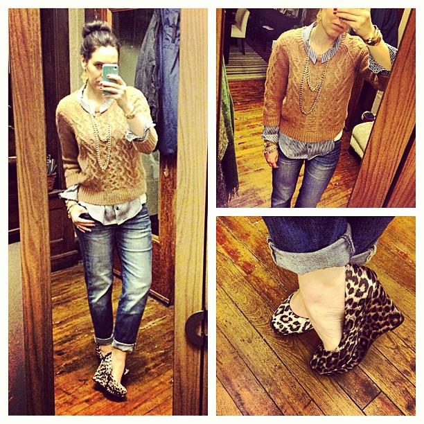 {dress} The leopard wedge #ootd #wiw #personalstyle #whatiwore #jcrew #sweater #zara #shirt #stelladotstyle #sockbun #gap #jeans #maddengirl #wedges