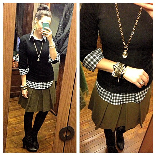 {dress} black + olive  today #ootd #wiw #personalstyle #bcbg #stelladotstyle #gingham