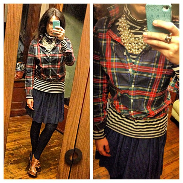 {dress} stripes+plaid+pearls #ootd #wiw #personalstyle #prep #jcrew #hm #stelladotstyle