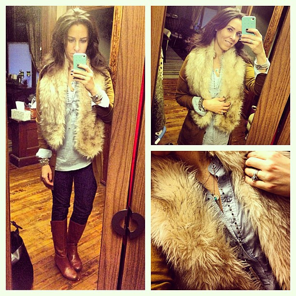 {dress} a fur scarf makes everything better #ootd #wiw #personalstyle #jcrew #fur #stelladotstyle #casualwear