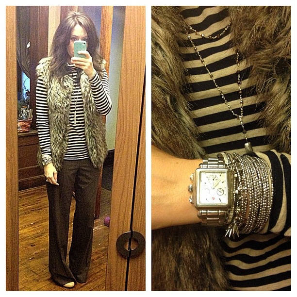 Classics today #ootd #wiw #personalstyle #jcrew #stelladotstyle #loft #fur #stripes #neutrals #basics
