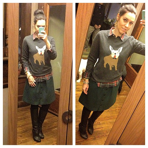 {dress} Monday fun! #ootd #wiw #personalstyle #jcrew #sockbun #bullylove #plaid