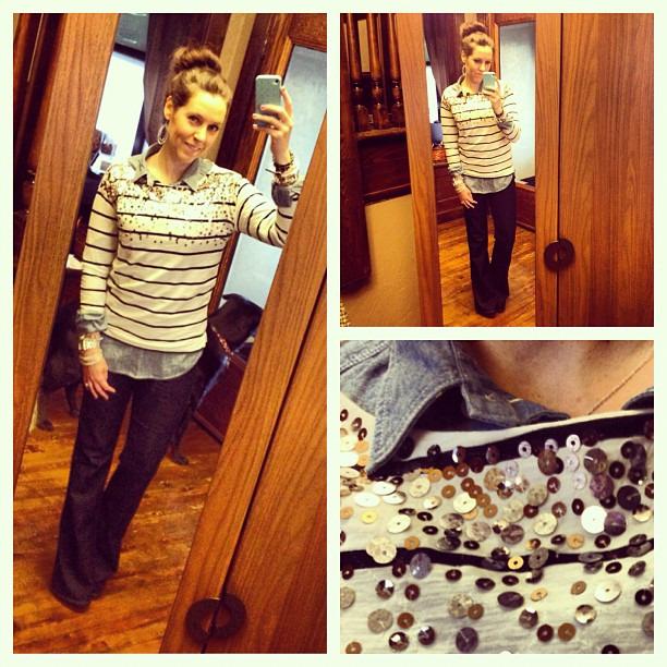 {TGIF} #ootd #layers #casual #sequins #loft #paige #jcrew #sockbun #wiw #ootdmagazine