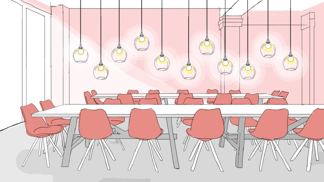 Second Floor co-working area with communal tables. Illustration by Caroline Bivens.