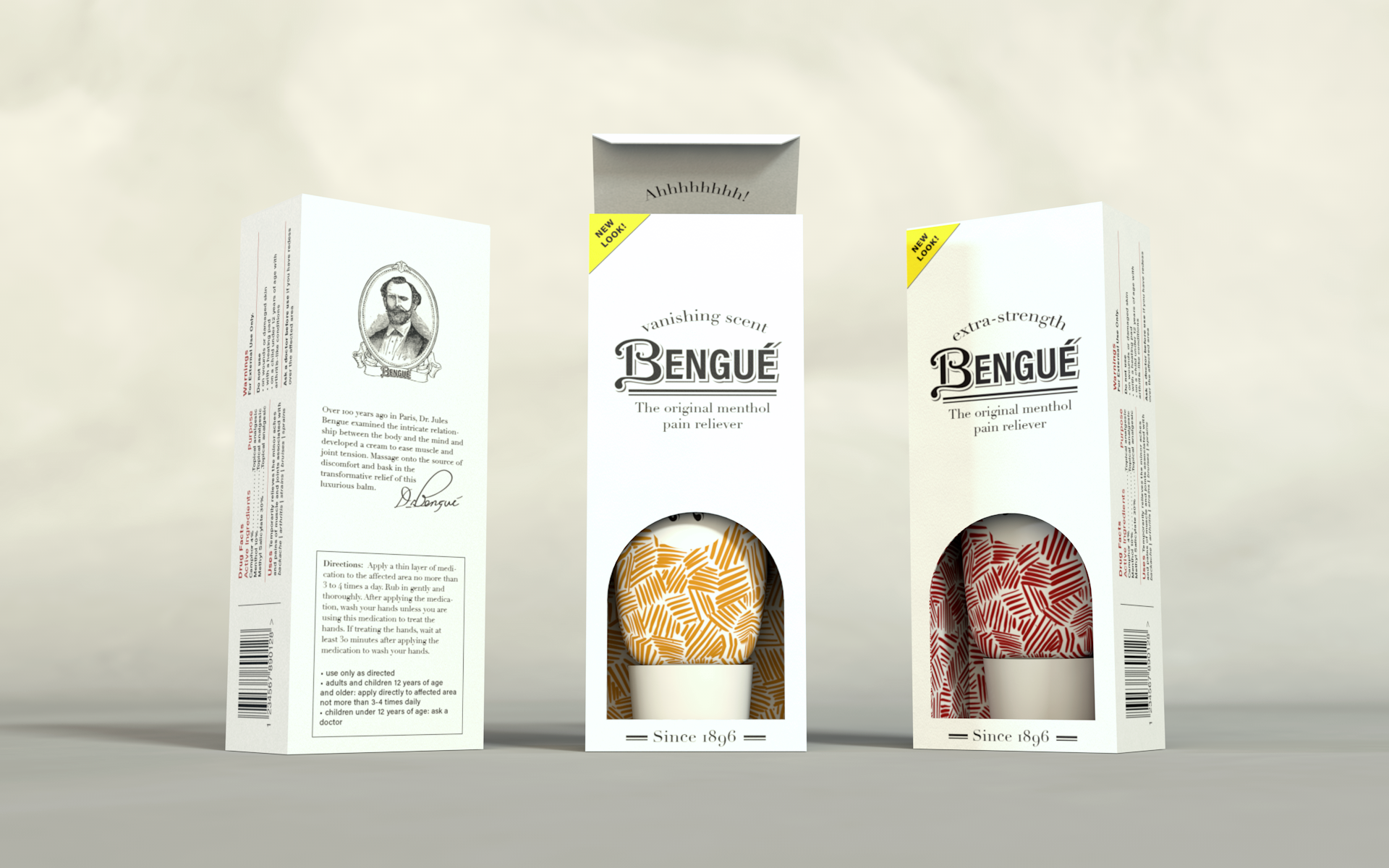 New package design features Dr. Bengué's portrait and the product's origin story on the back. Rendering by Zak Vono.