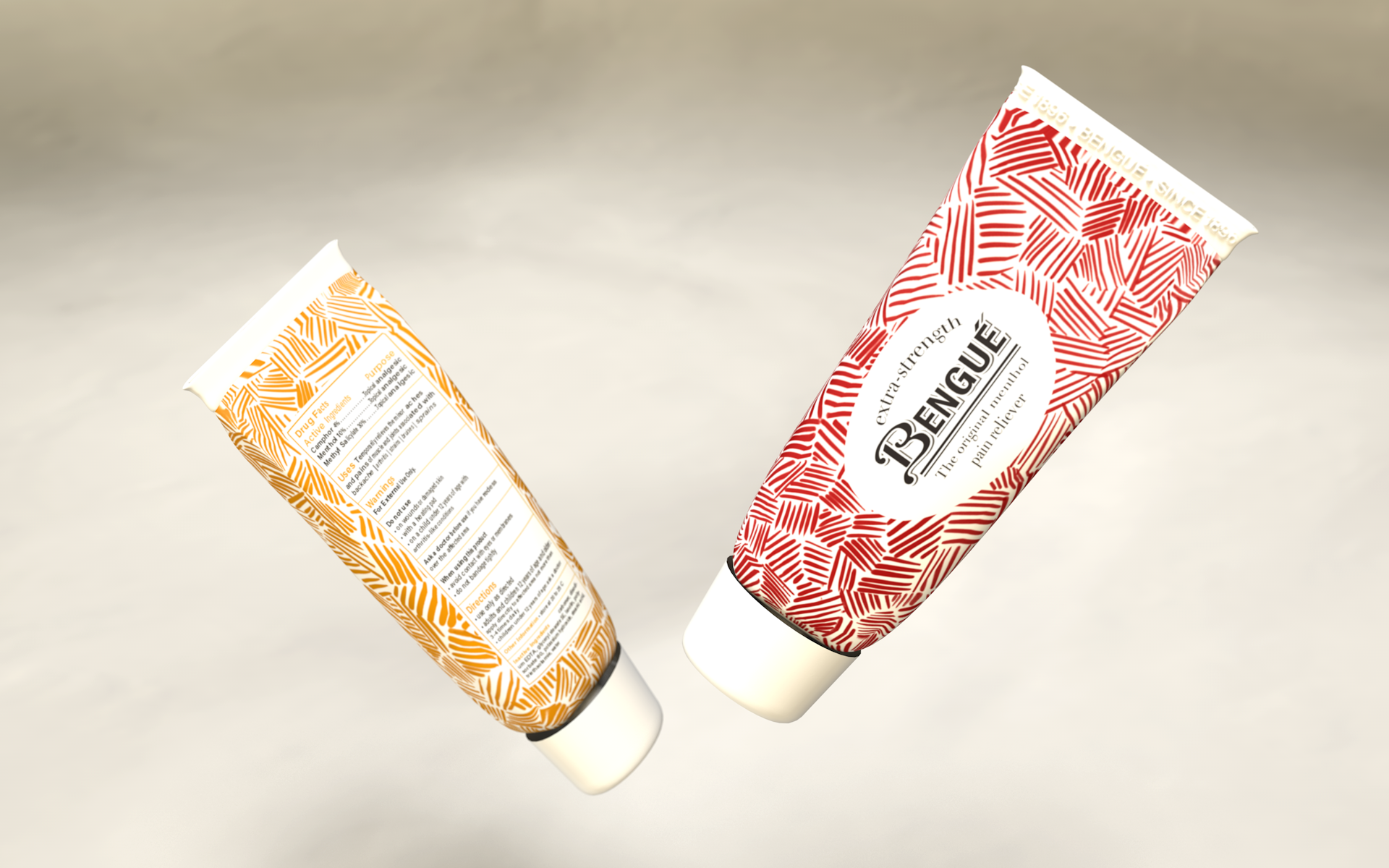 New tubes features a gestural, cross-hatched pattern for a hand-made feel. Rendering by Zak Vono.