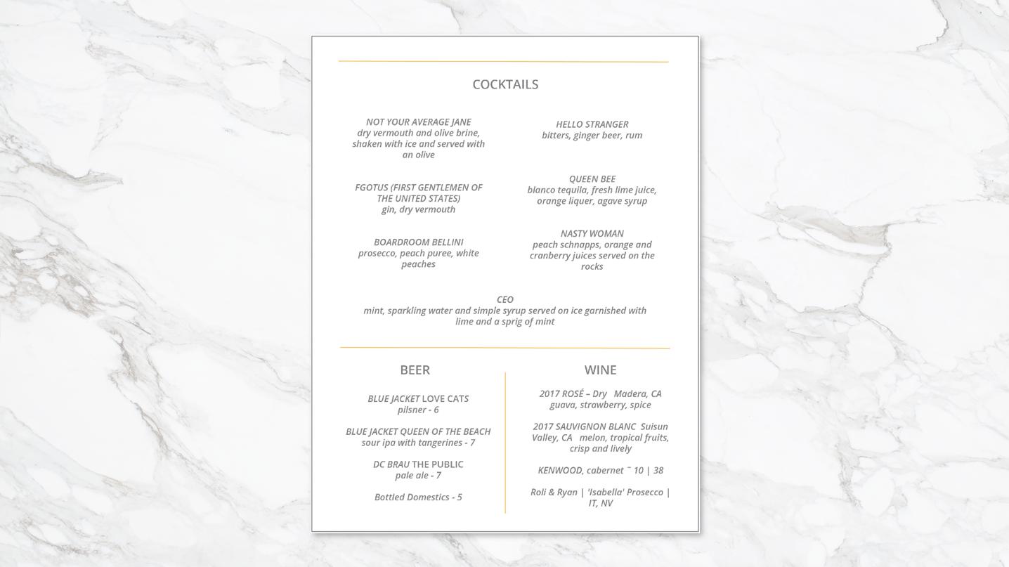 Third floor cocktail menu