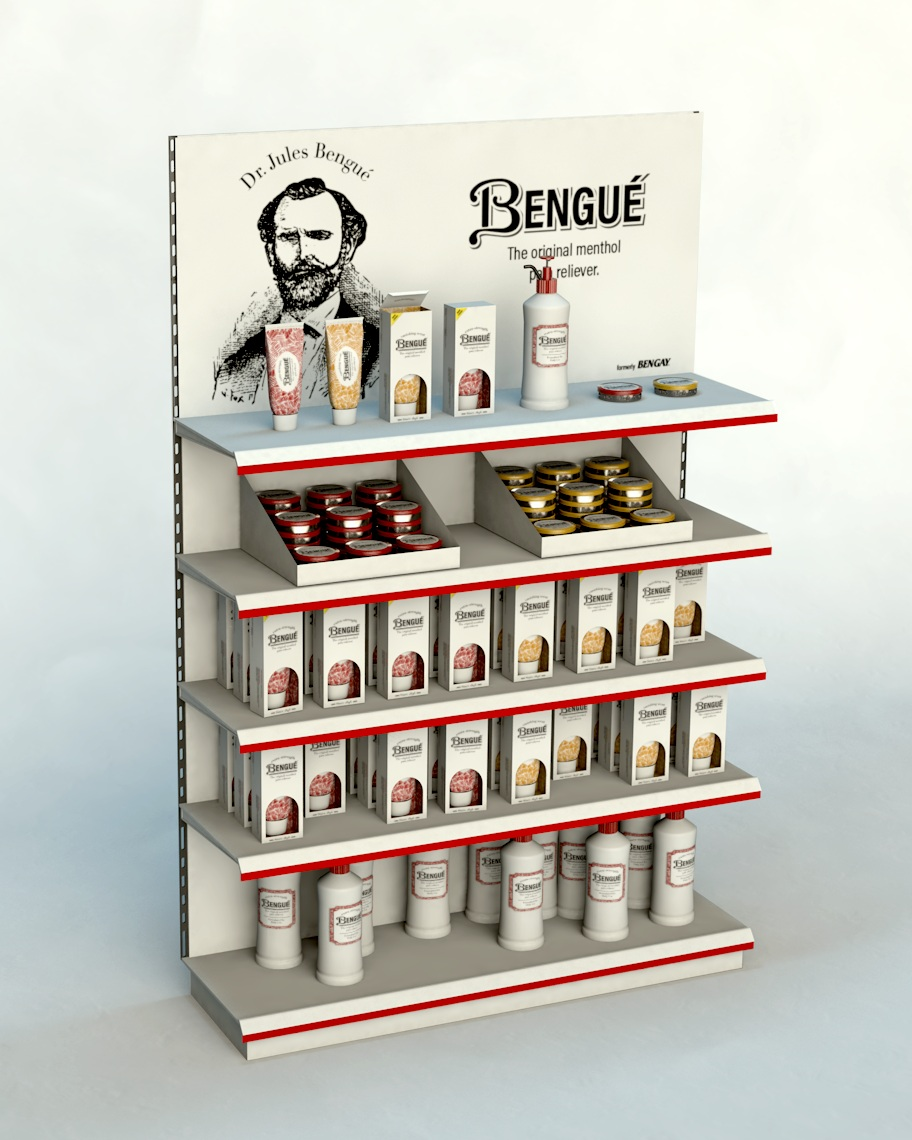 New displays will introduce consumers to Bengué's new look in stores like Target. Rendering by Zak Vono.