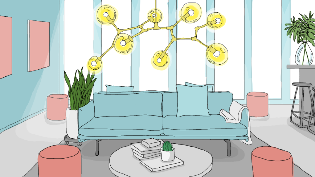 The first floor offers casual seating for low-key coffee dates. Illustration by Caroline Bivens.