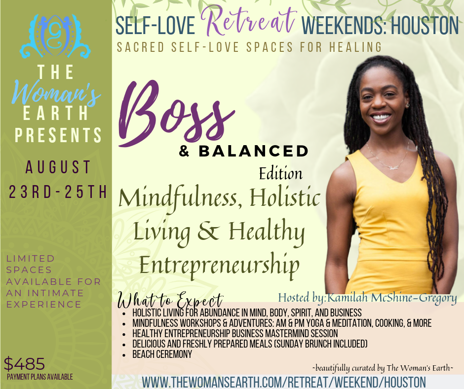 Kamilah McShine-McGregory - Kamilah McShine-Gregory aka KAM is a Holistic Health & Wellness Coach, Advocate and Educator who focuses on curating and creating sacred spaces for individuals to own, define and engage in their well-being practice through Holistic Wellness, Yoga, mindfulness, movement, and conscious living.  Kamilah's wellness philosophy is based on a balanced lifestyle, deeply rooted in self- love, self-awareness and authentic exploration of the mind, body, and spirit.A quest with Kamilah involves a TRANSFORMATIONAL JOURNEY towards BALANCE in MINDSET & LIFESTYLE.   KAM believes that EVERYONE is worthy of the knowledge and consciousness to feed their mind, body, and soul with all it needs to build a prosperous Kingdom as the Kings & Queens we all are.
