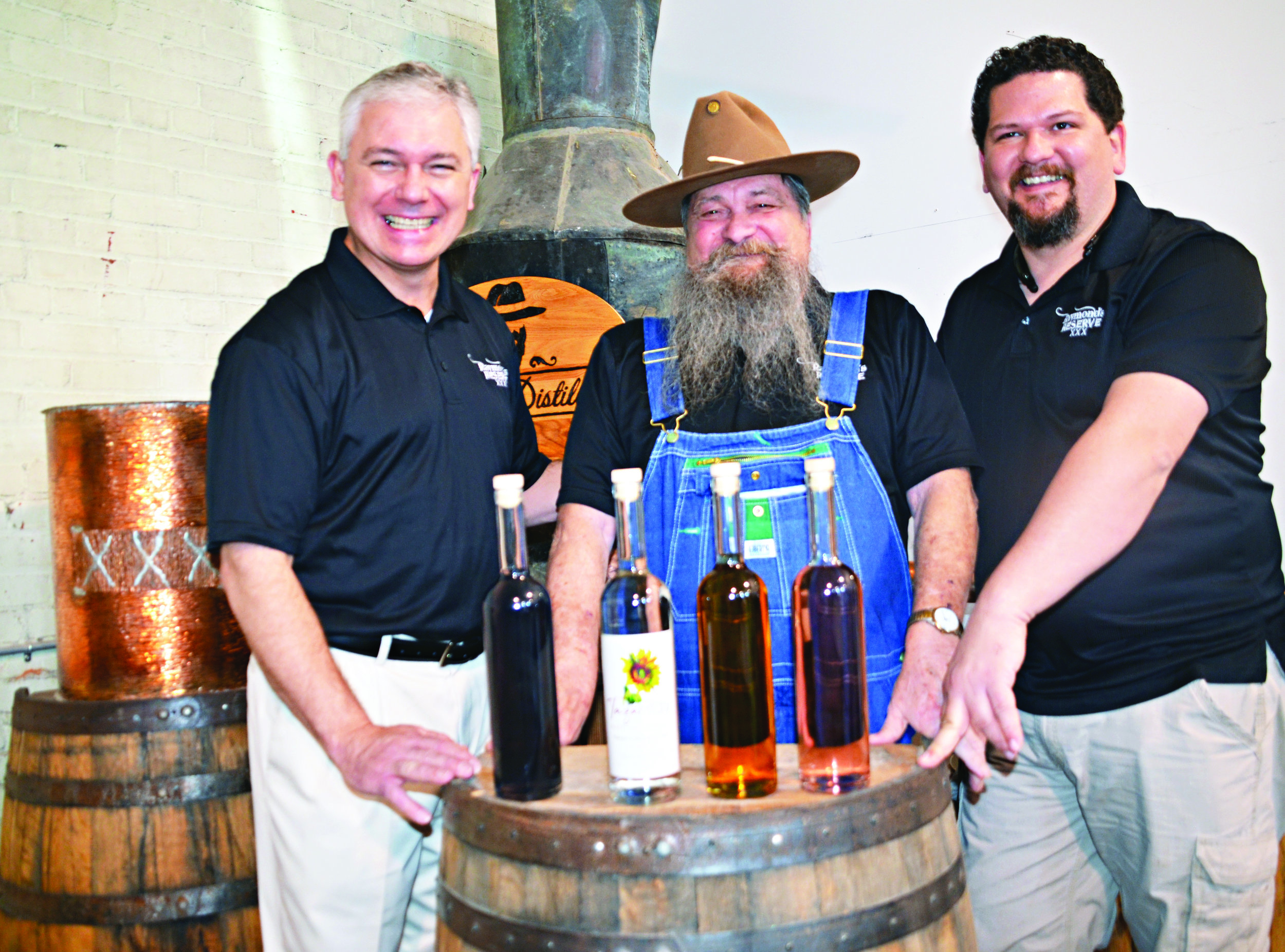 Left to right Vann Brown Partner and Director of Marketing, Raymond Butler Master Distiller, and Chuck Butler Founder