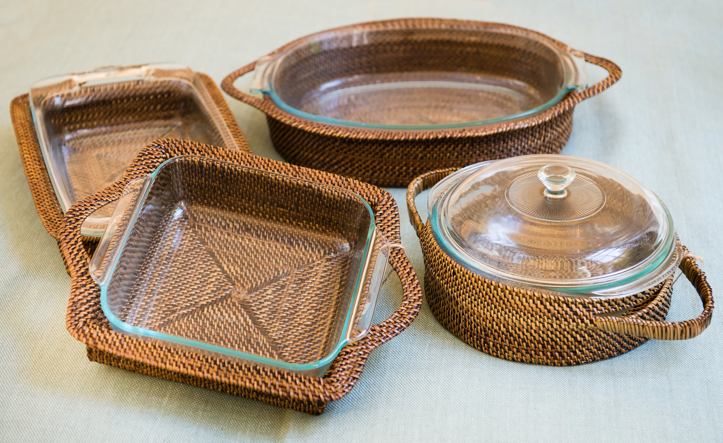 Rattan serving pieces at gift shop in Atlanta, GA