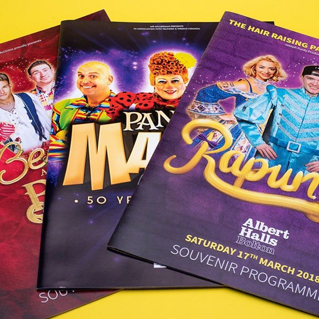 A selection of panto programmes for various companies printed for the spring season this year.  #panto #pantomime #print #design #designandprint #theatre