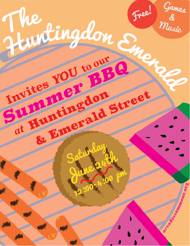 Free BBQ, Games and Music at Huntingdon Emerald Park on June 24th from 12- 4 p.m. ! We hope to see you there!