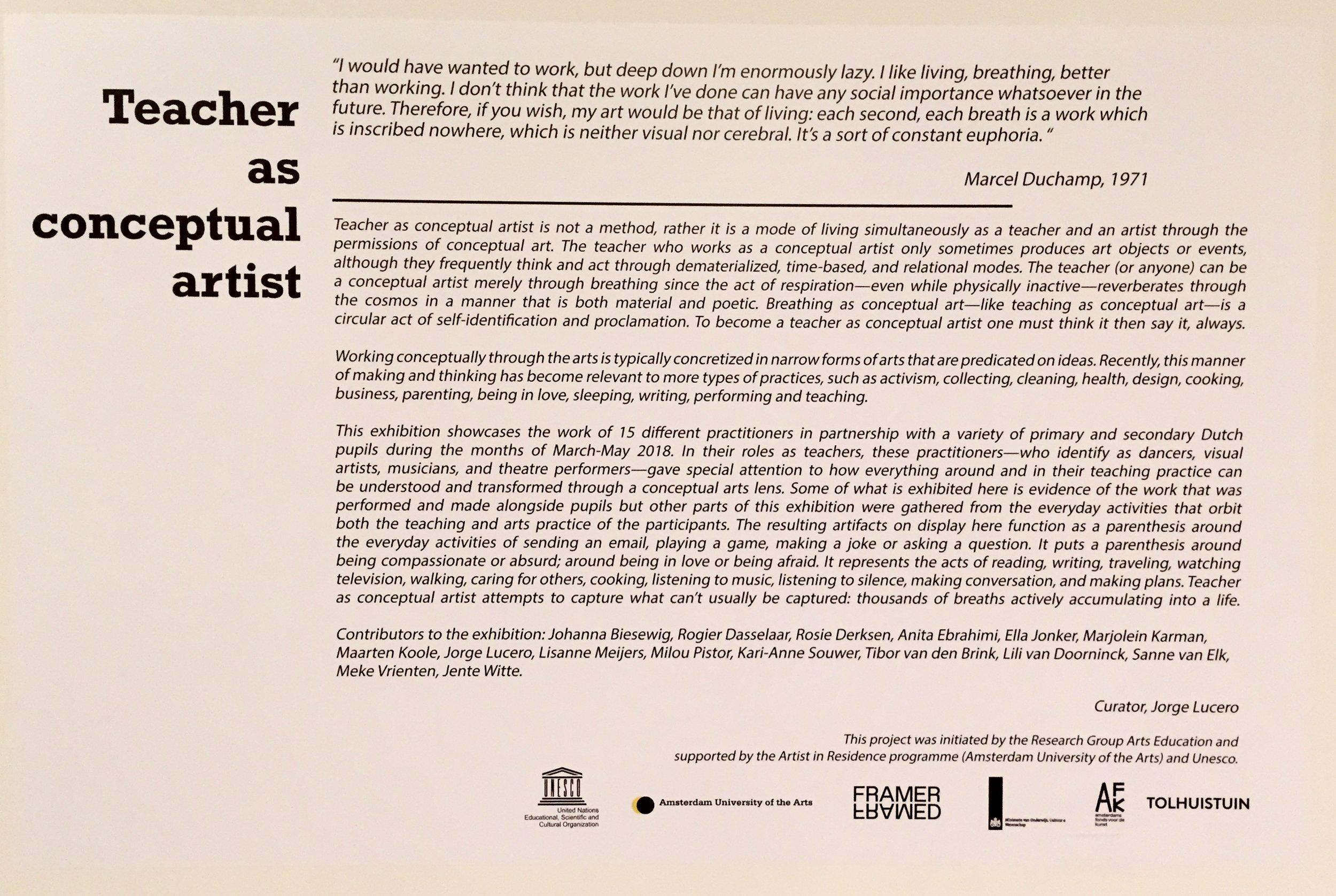 Teacher as conceptual artist exhibition wall text