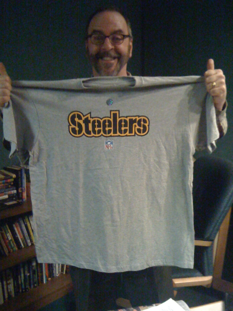 How can this be the first Steeler shirt John's ever owned? (2011)