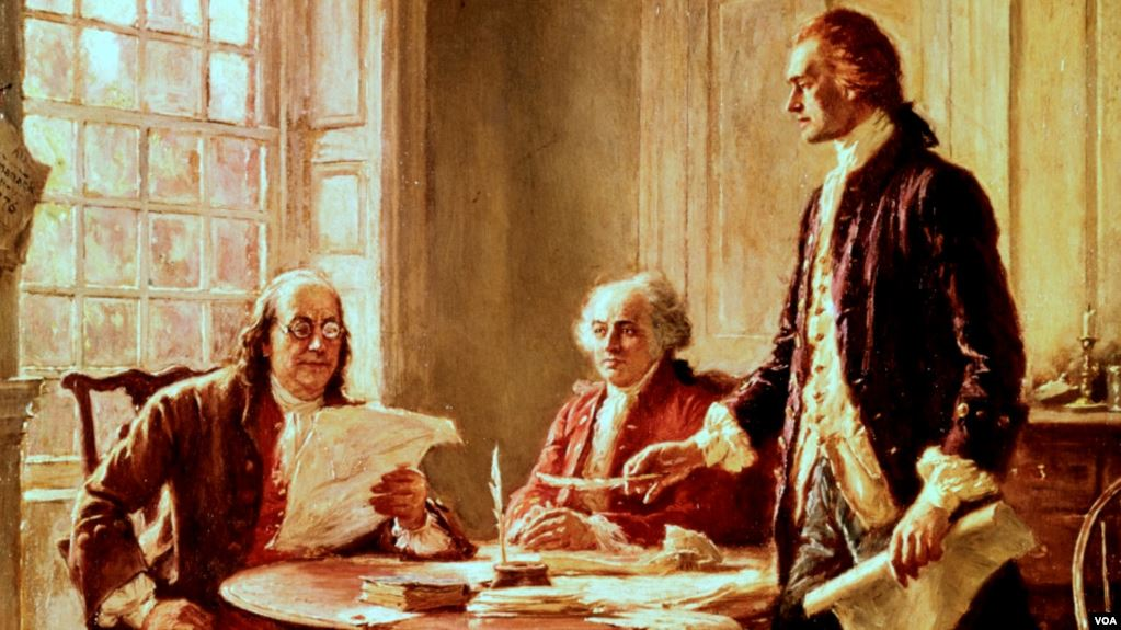 Founding Fathers, left to right, Benjamin Franklin, John Adams and Thomas Jefferson revise the Declaration of Independence. (Painting by Jean Leon Gerome Ferris)
