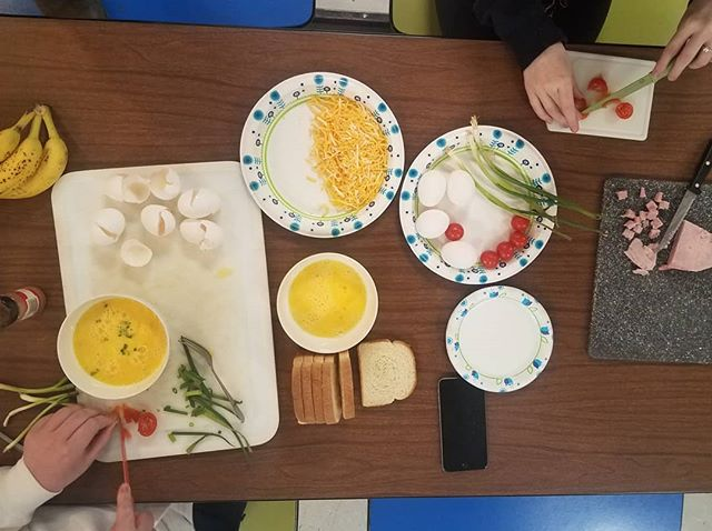 Last week in Cooking class students were given a list of ingredients and told to create a meal.  Some of the choices included were eggs, bananas, onion, tomatoes, bread, cheese and ham.  What would you make?