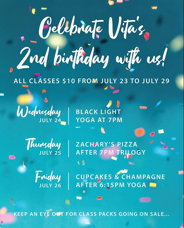 Hey Oakland, whatcha doin' next week? Come celebrate our 2nd birthday with us! All classes $10 from July 23rd-July 30th, as well as pizza, champagne, cupcakes, and more!