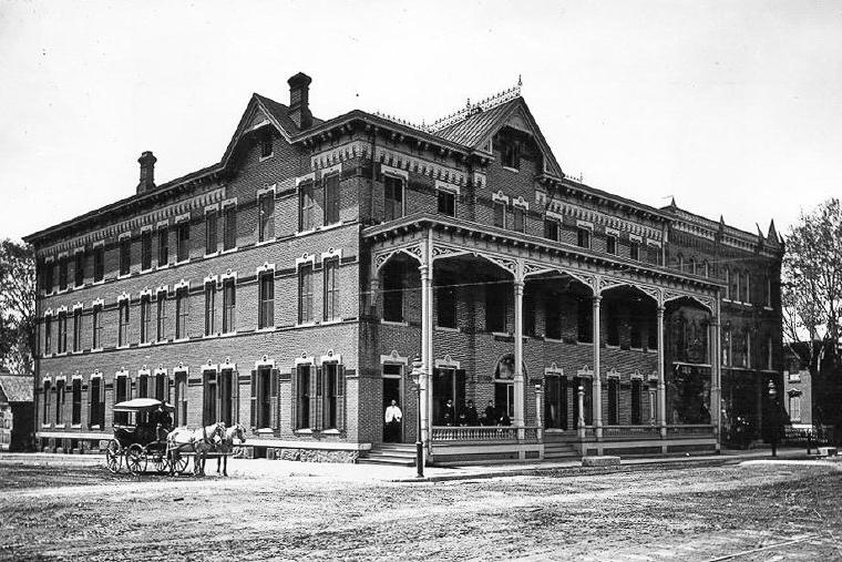 The re-built American House c. 1880. Photo courtesy of  The Chapman Museum .