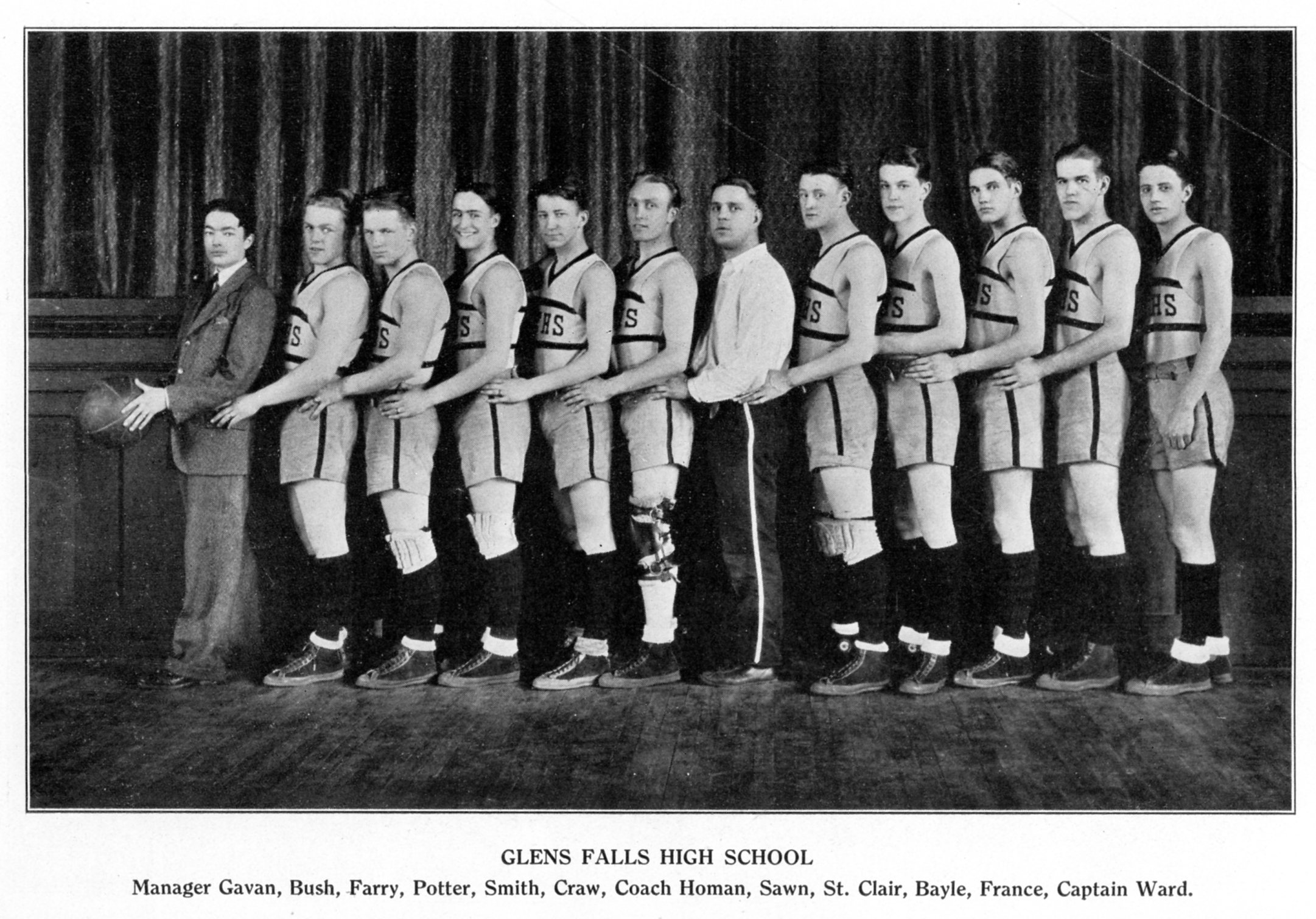 Glens Falls High School Basketball Team - 1927. Photo courtesy of    The Folklife Center at Crandall Public Library   .