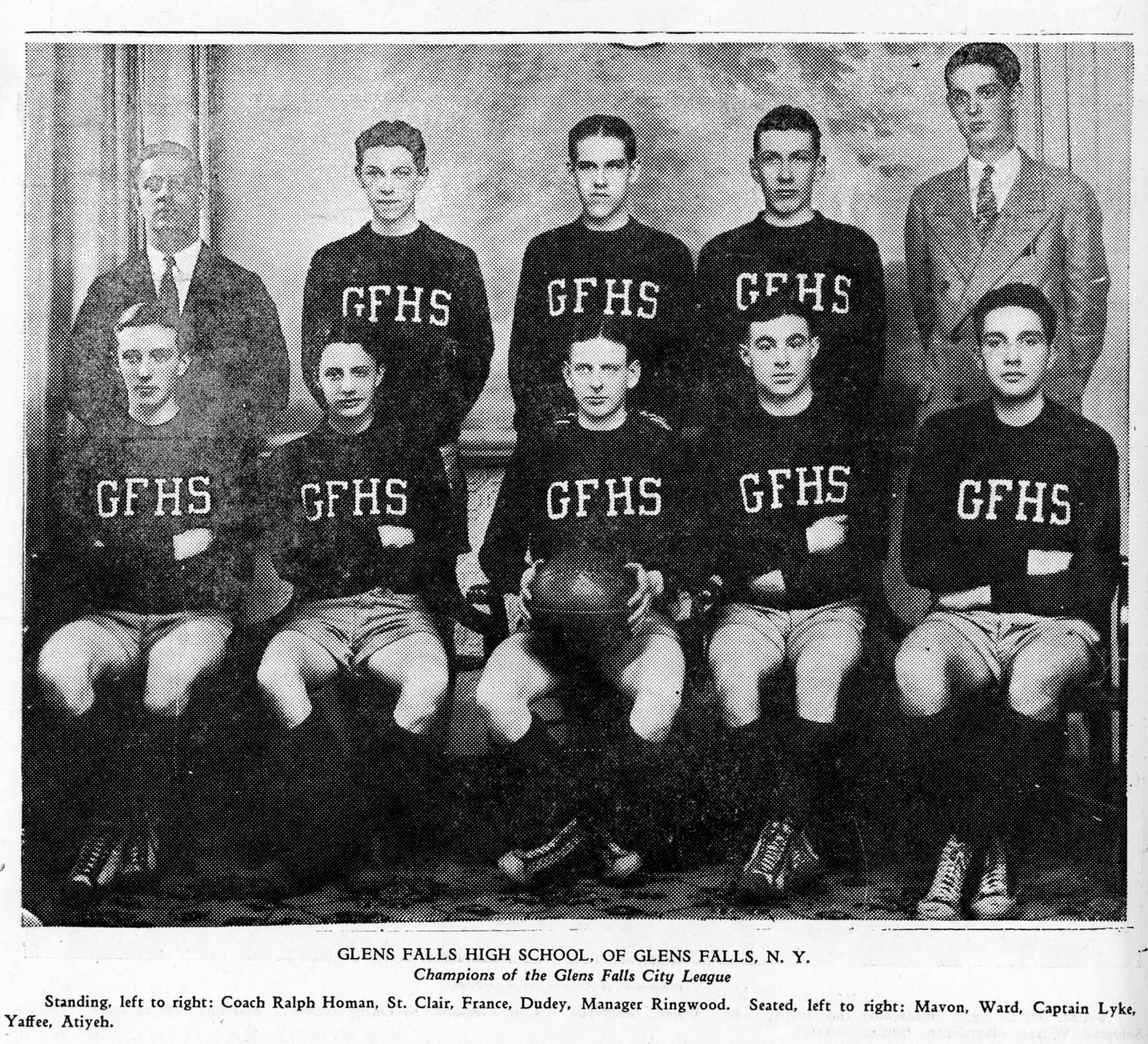 Glens Falls High School Basketball Team - 1925. Photo courtesy of    The Folklife Center at Crandall Public Library   .