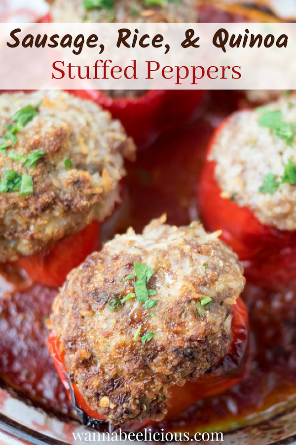 Sausage, Rice & Quinoa Stuffed Peppers | wannabeelicious
