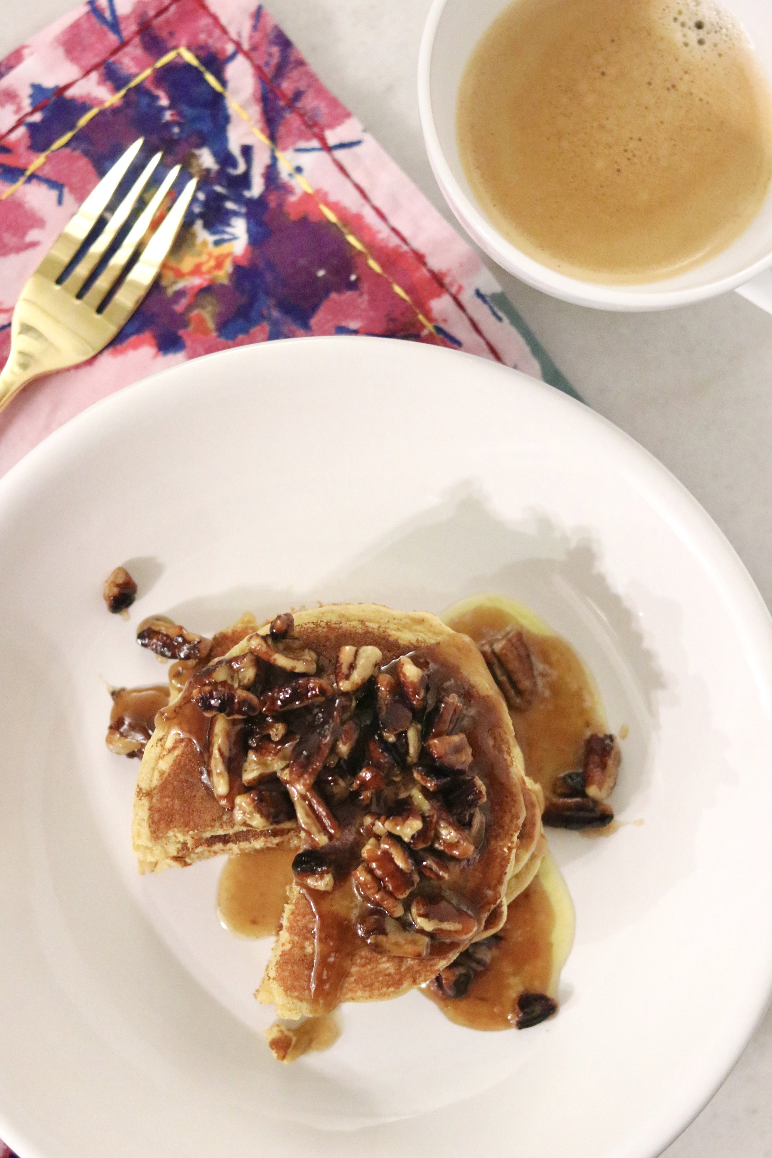 Chai Mesquite Pancakes with Caramelized Pecans I'd Eat That Food