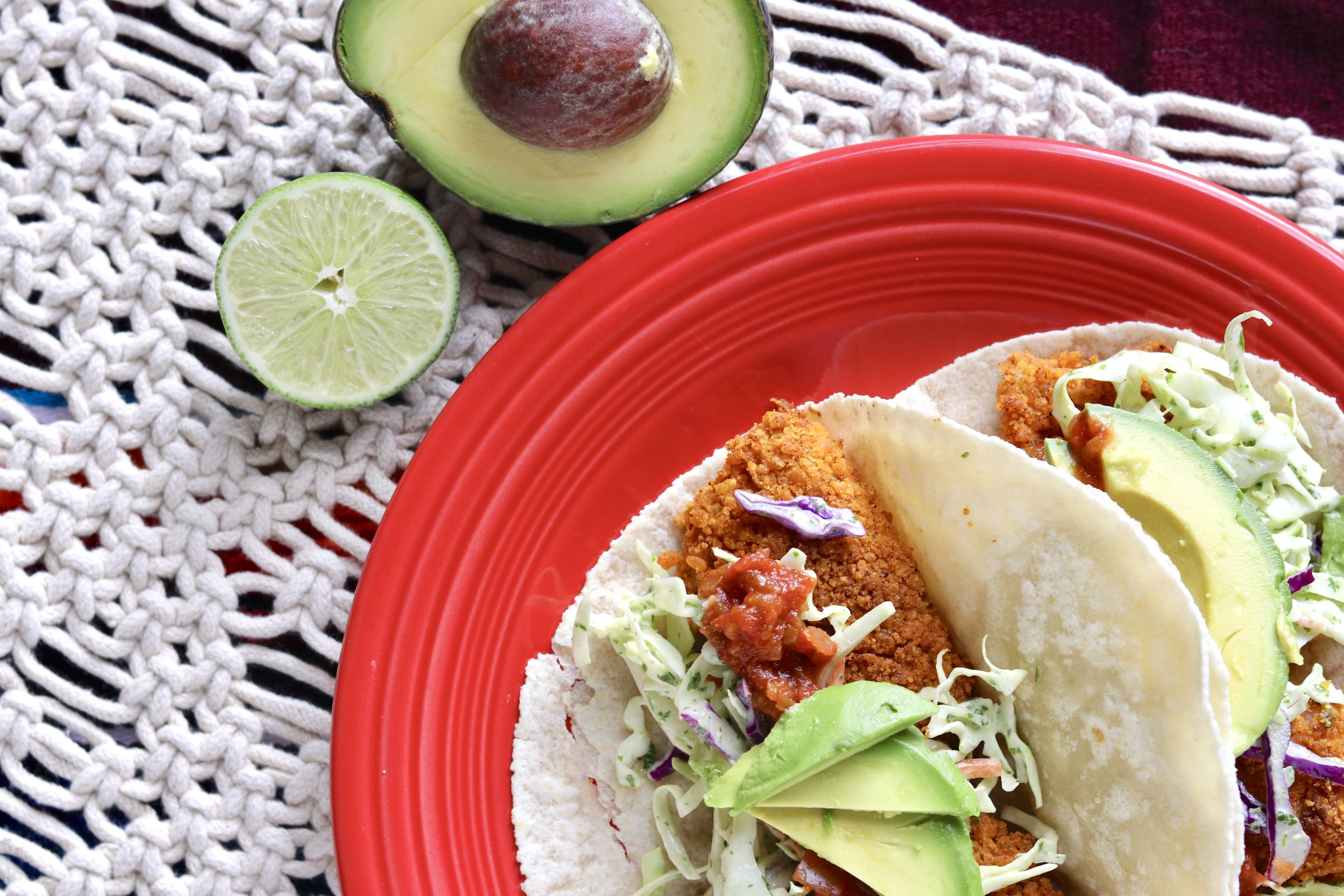 Crispy Fish Tacos with Cilantro Lime Slaw