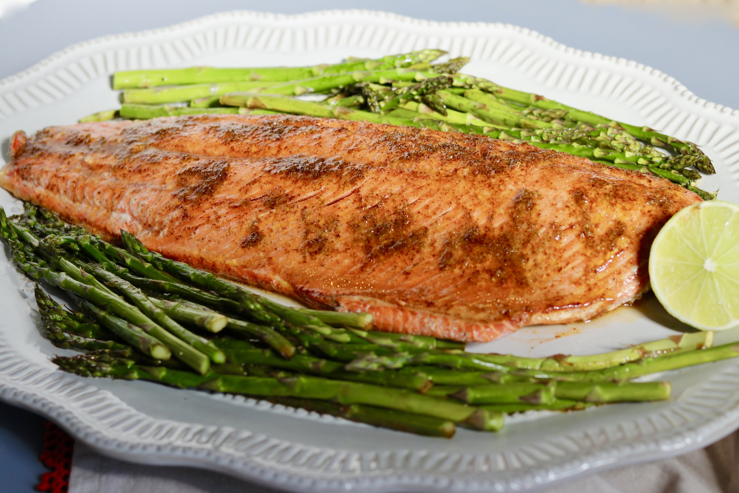 Honey Lime Salmon Sheet Pan Dinner by I'd Eat That Food