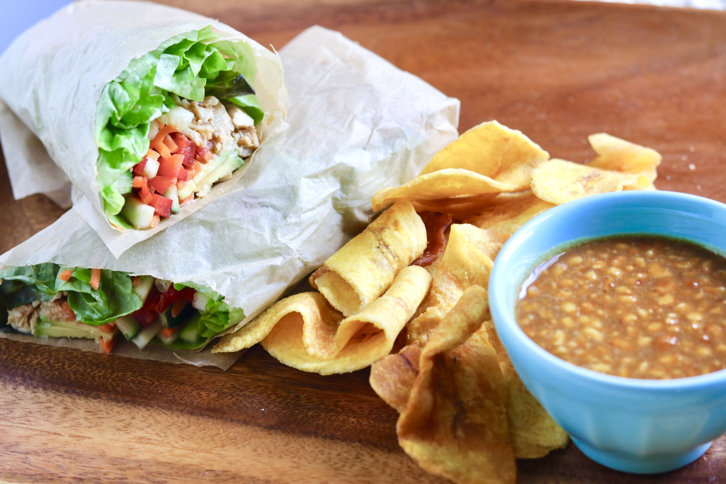 Spring Roll Lettuce Wrap with Peanut Sauce by I'd Eat That Food