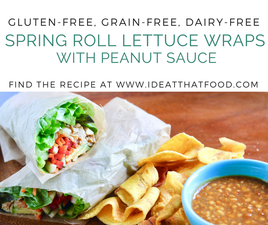 Spring Roll Lettuce Wraps with Peanut Sauce by I'd Eat That Food