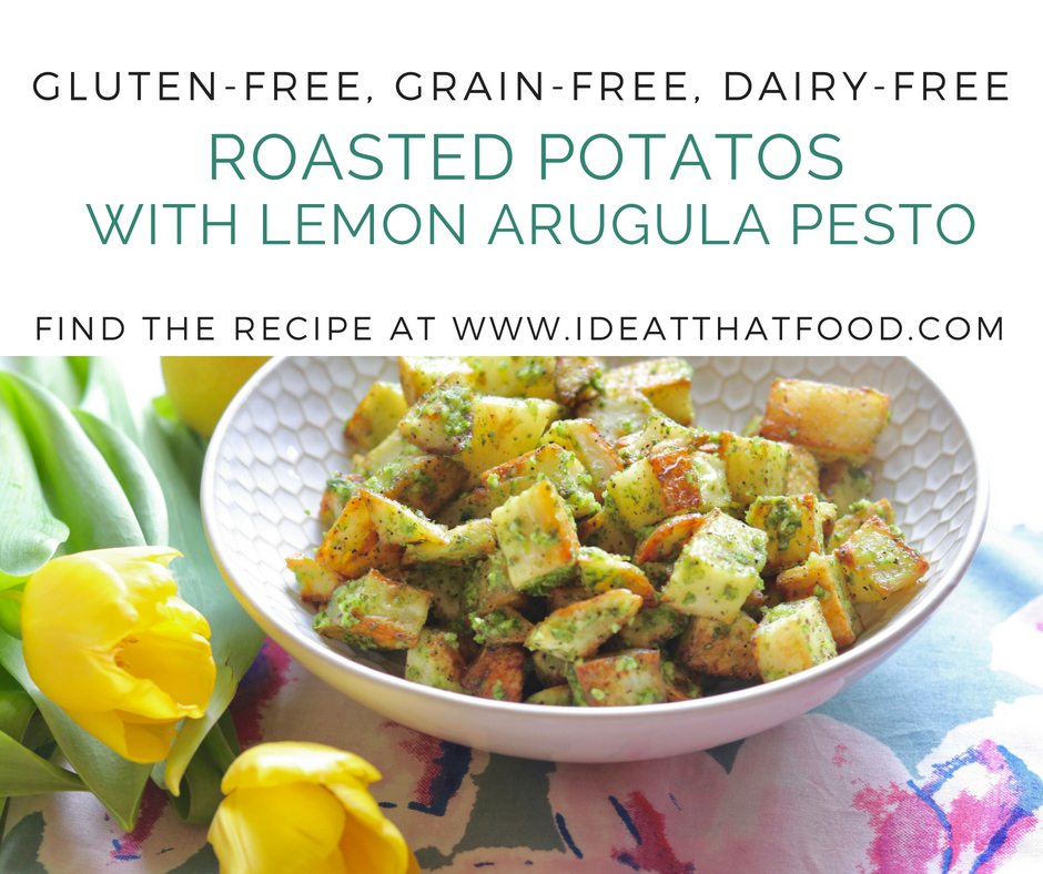 Roasted Potatoes with Lemon Arugula Pesto by I'd Eat That Food