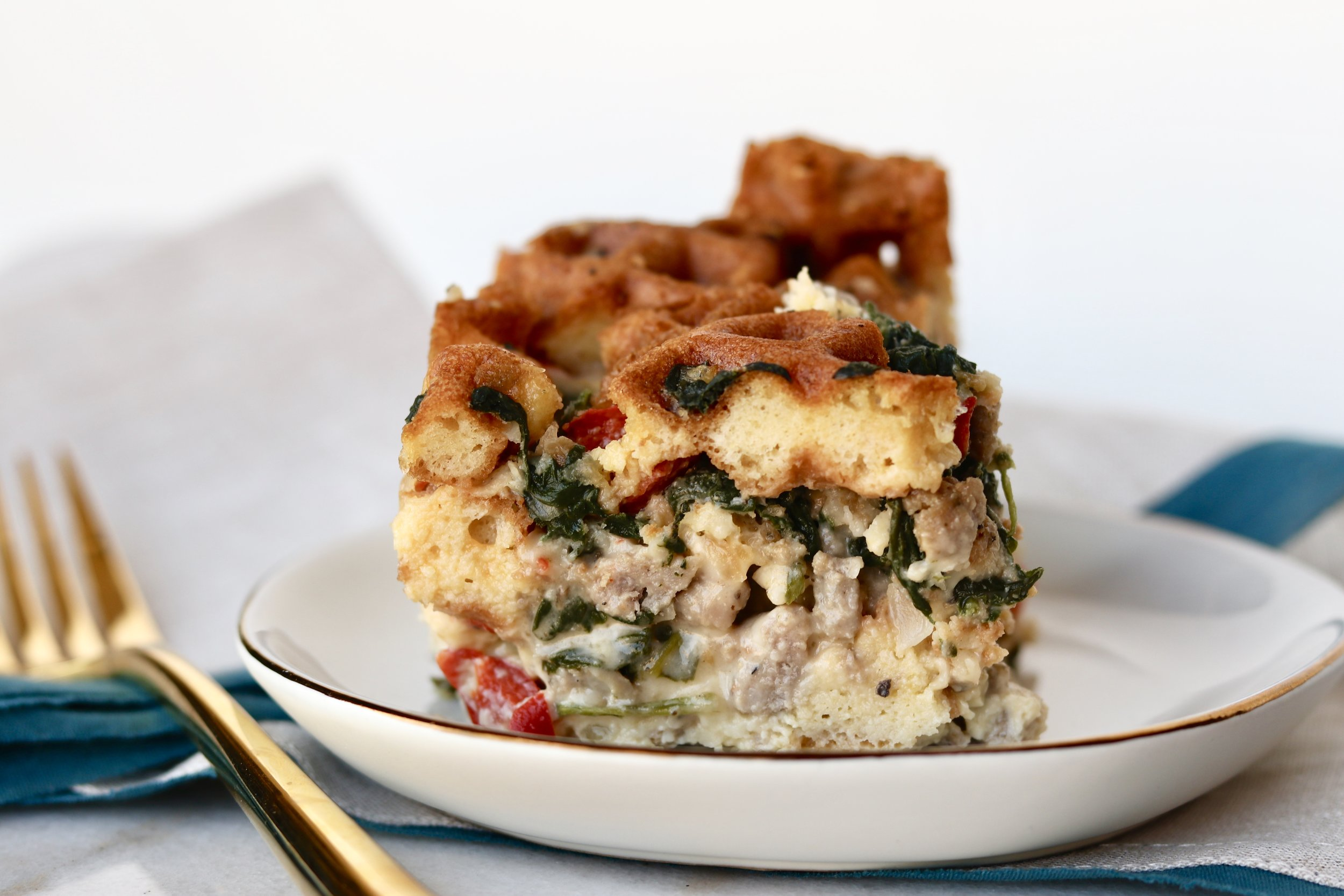 Waffle Breakfast Strata by I'd Eat That Food