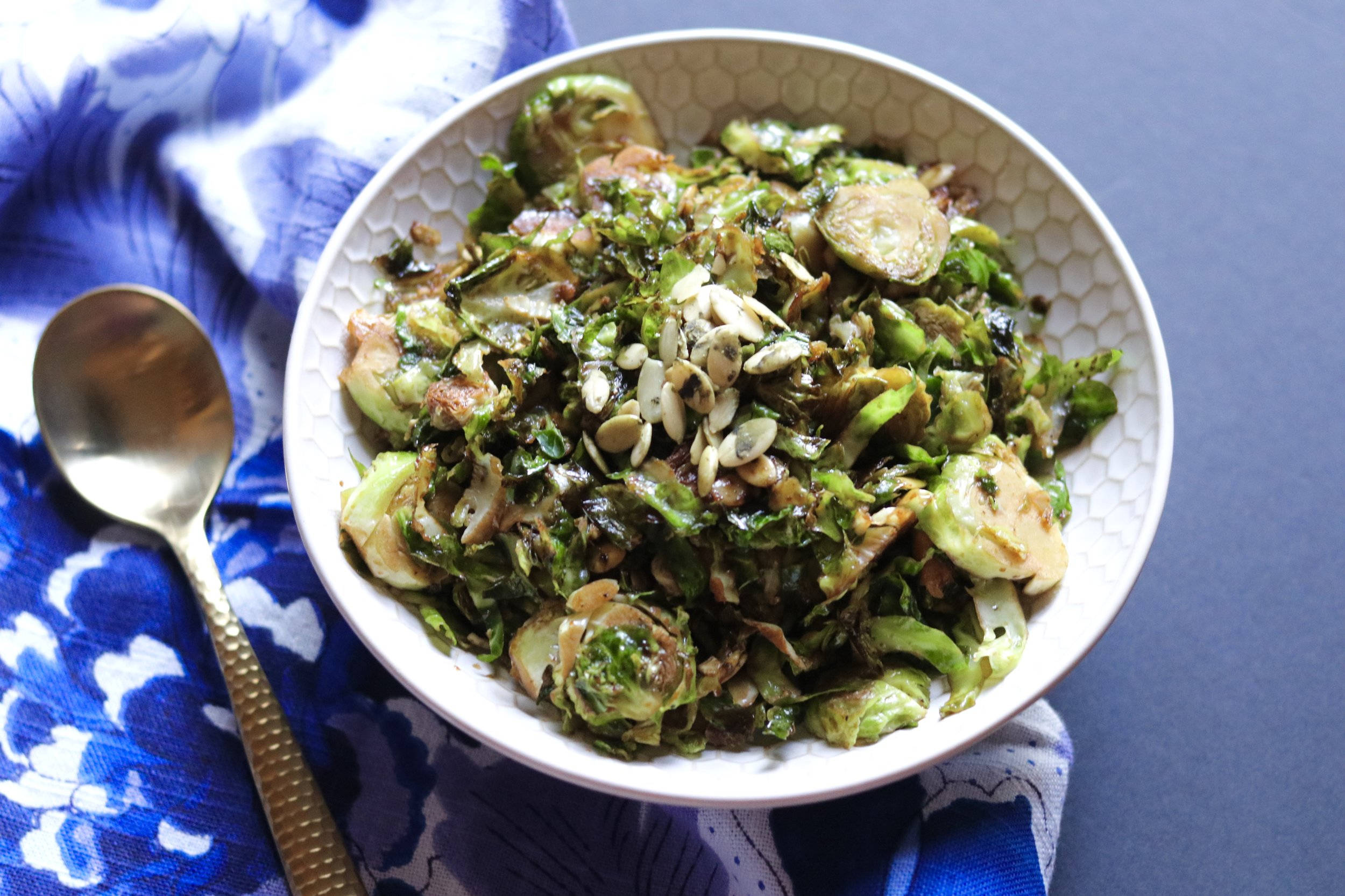 Balsamic Brussels Sprouts with Pepitas by I'd Eat That Food