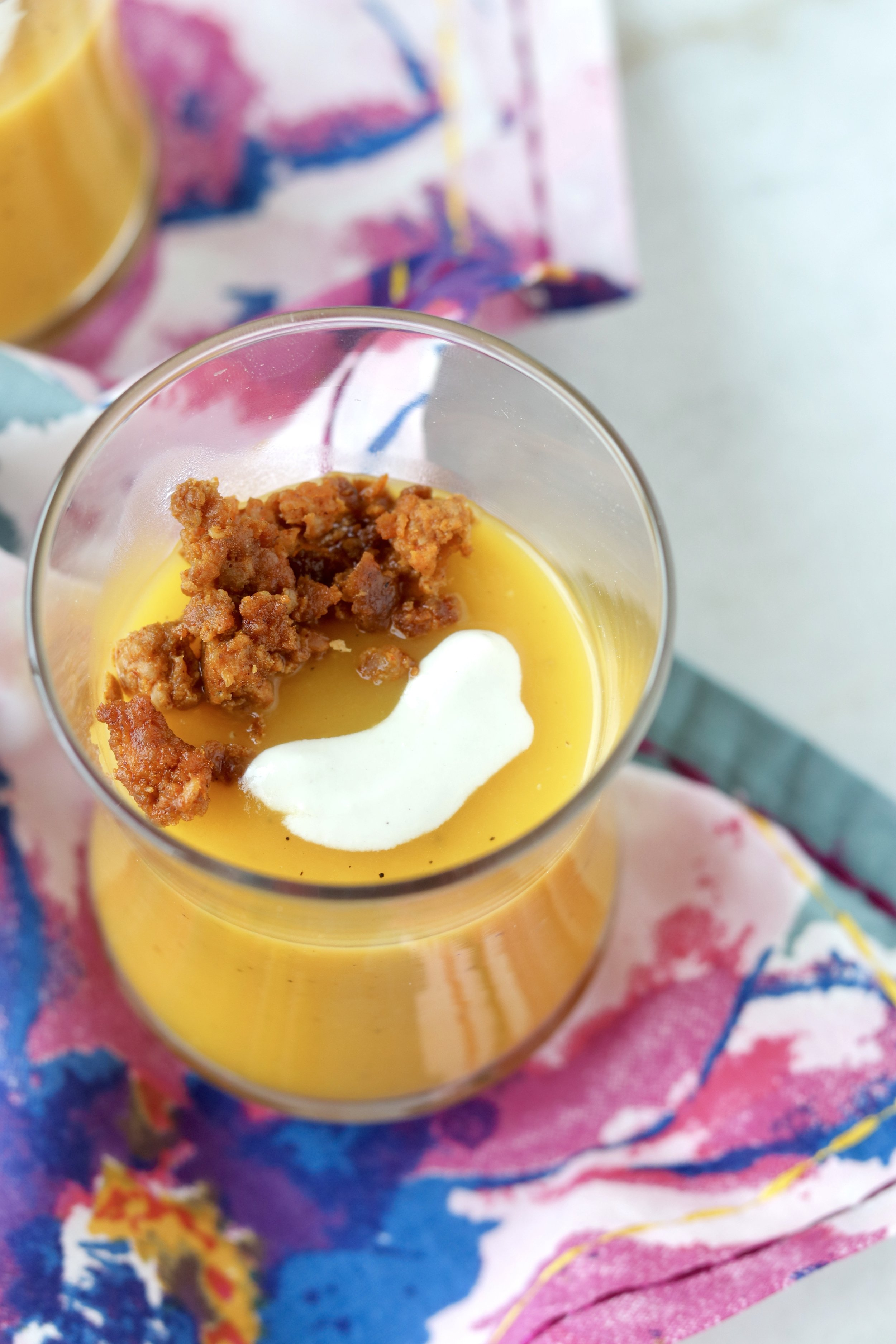Butternut Soup with Chorizo and Garlic Cream by I'd Eat That Food
