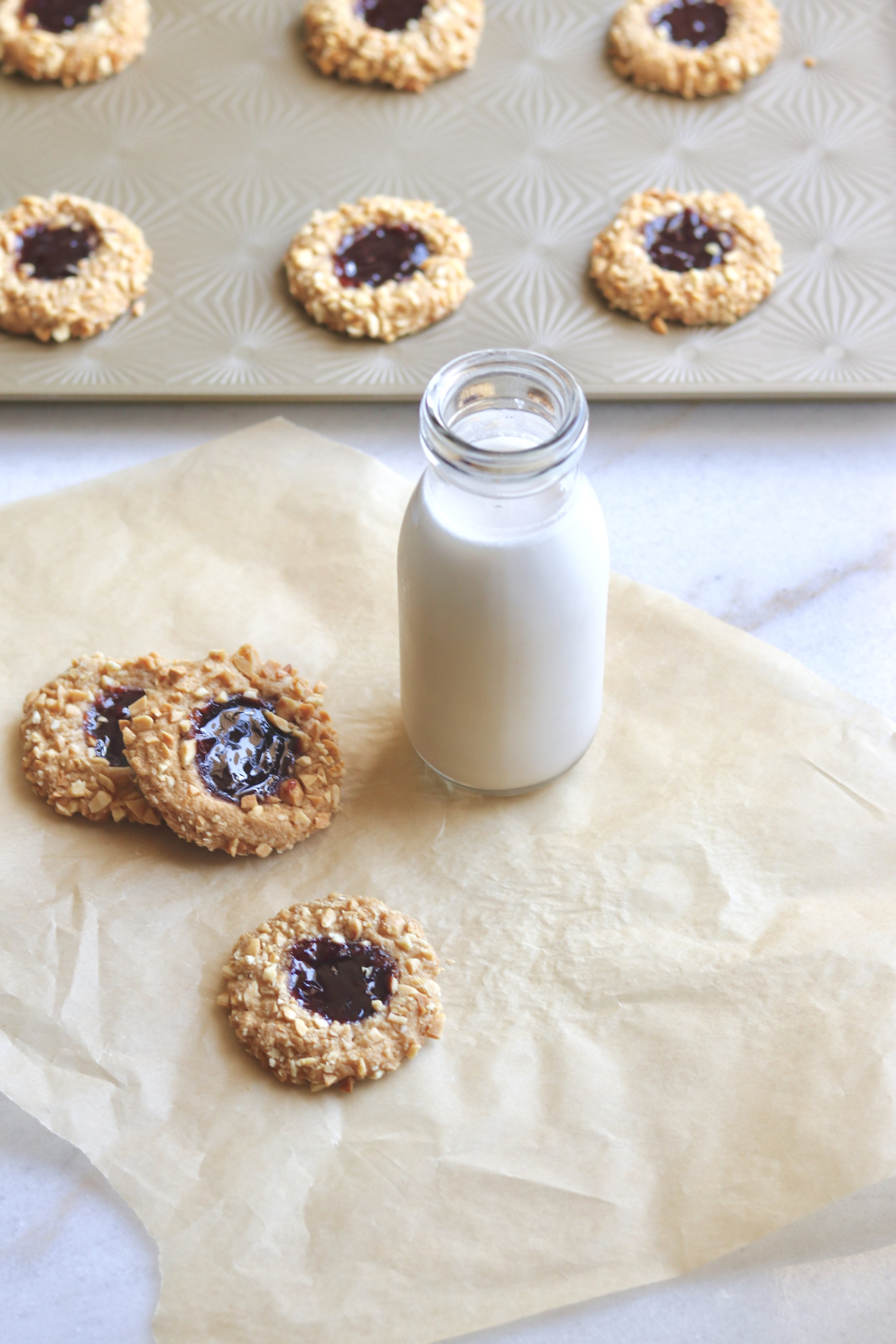 Grain-Free Peanut Butter and Jelly Thumbprints by I'd Eat That Food