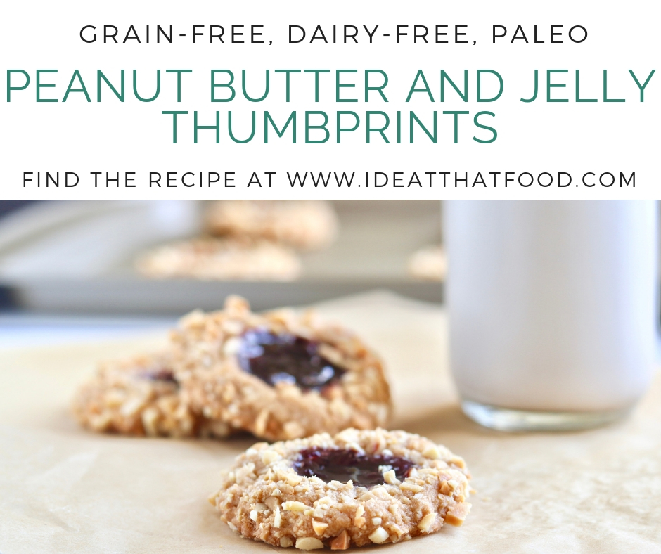 Peanut Butter and Jelly Thumbprints by I'd Eat That Food