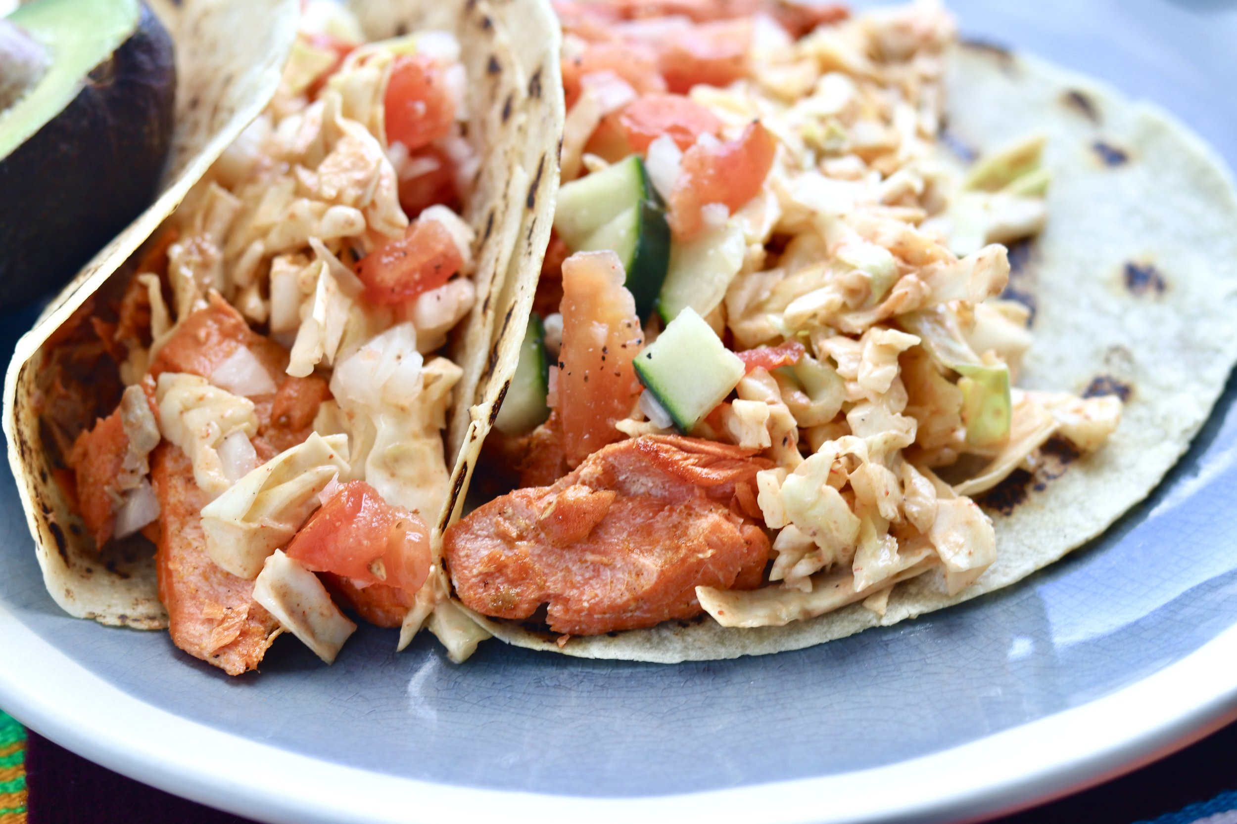 Salmon Tacos by I'd Eat That Food