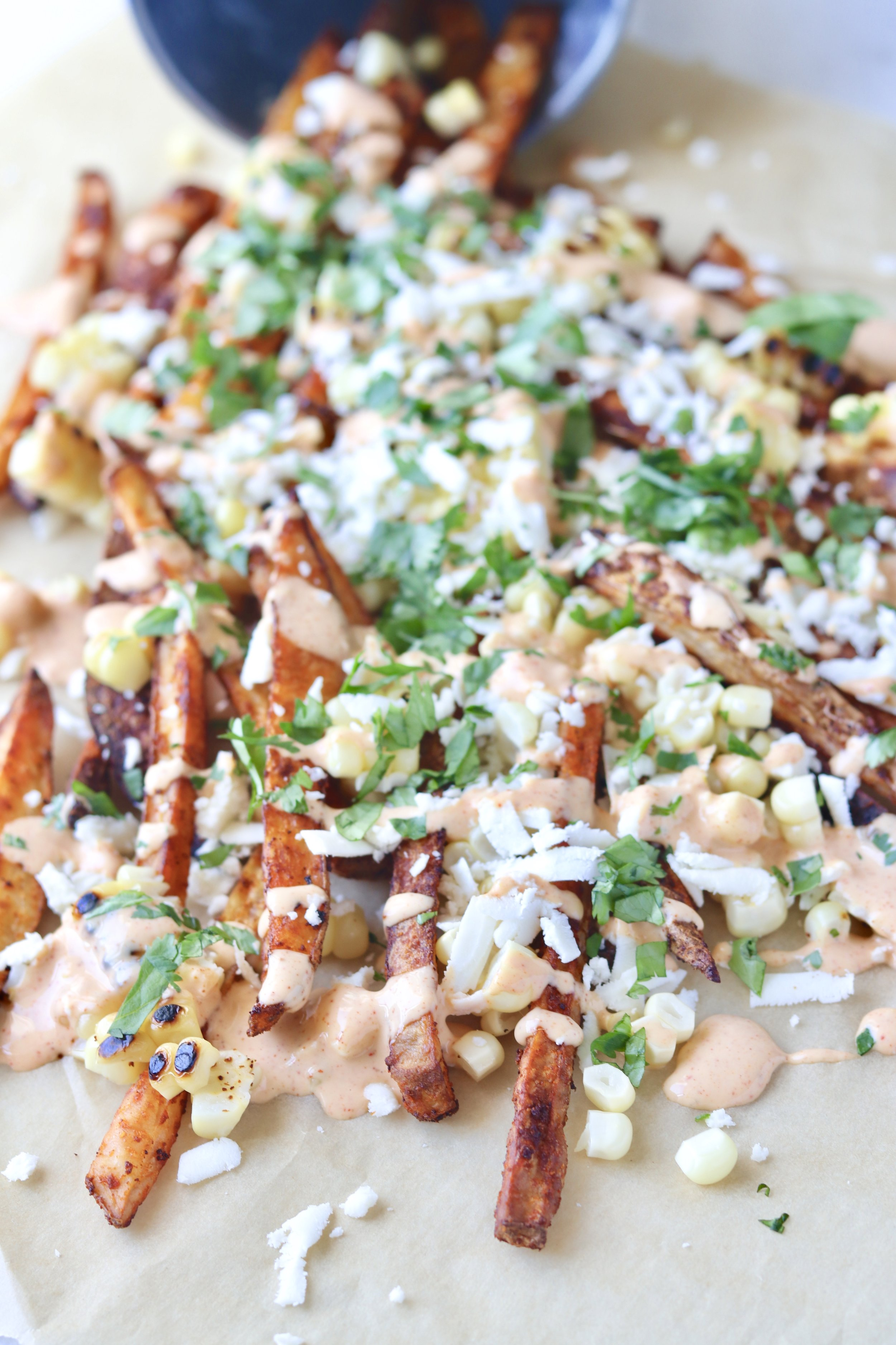 Mexican Street Corn Fries by I'd Eat This Food