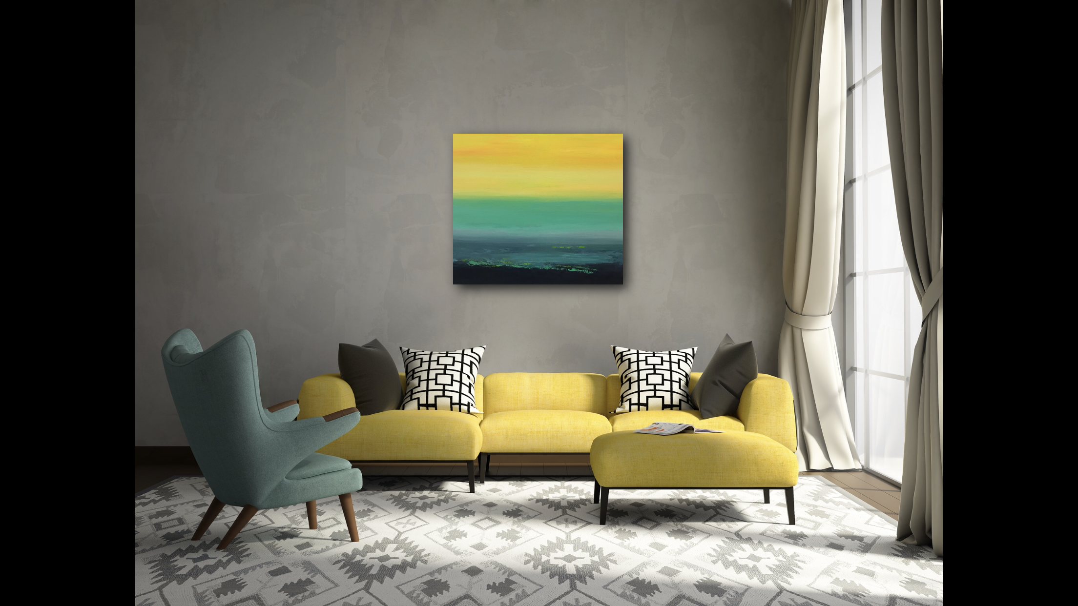 """""""Sunny Afternoon""""  Acrylic on Canvas  30"""" x 34""""  Original Available for Sale"""