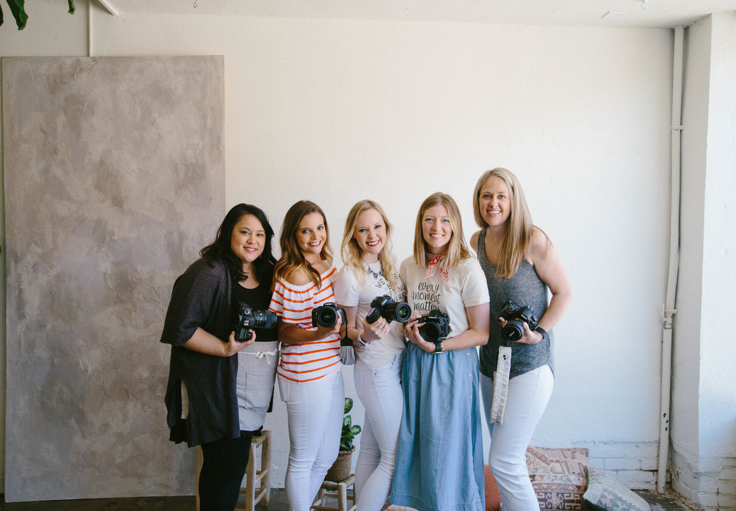 Kindred Photography Workshop  Tulsa Featured Photographers and Instructors, (L to R  Jess Tucker ,  Christina Dixon , Angela Williams ,  Kacey Gilpin , and  Blair Schluter ), Image by  Wallflower Photography