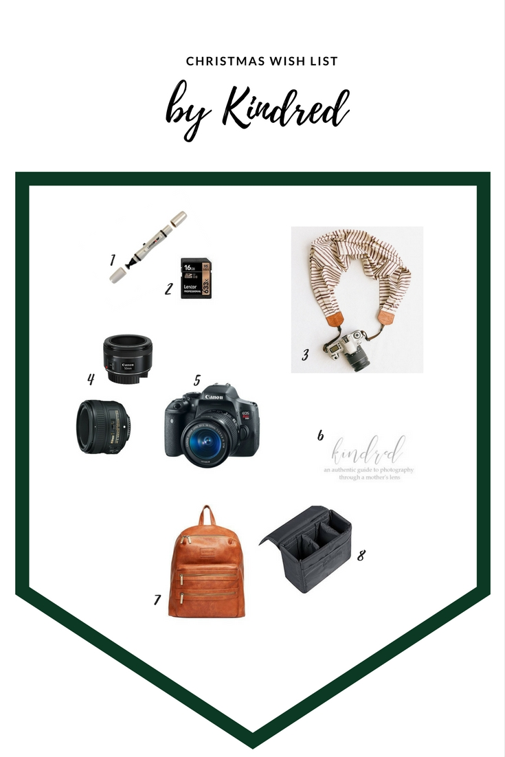 Camera Wish List by  Kindred Photography Workshops Blog ,   1   Lens Pen  |  2   16 GB Memory Card  |  3   Scarf Camera Strap  by Scout Mob |  4   50 mm 1.8 Lens  |  5   Camera Body  |  6   Kindred Photography Workshop Seat  |  7   Honest Company City Backpack |  8   Padded Camera Gear Insert  (for converting a diaper bag or backpack to a camera bag)