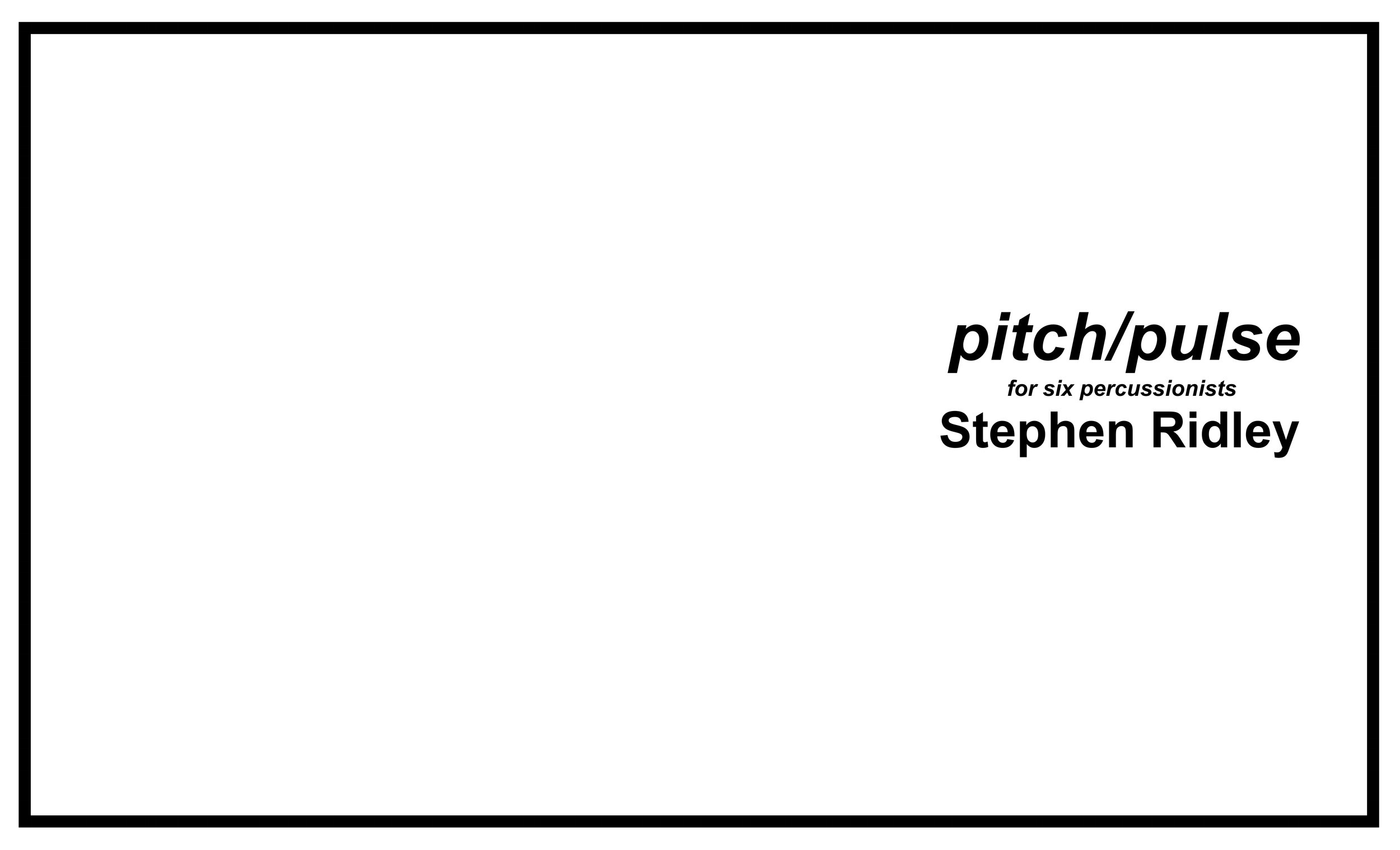 Stephen Ridley pitch/pulse cover