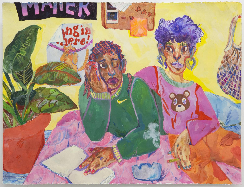 """2018  22x 30"""" gouache, colored pencil and silkscreen print"""