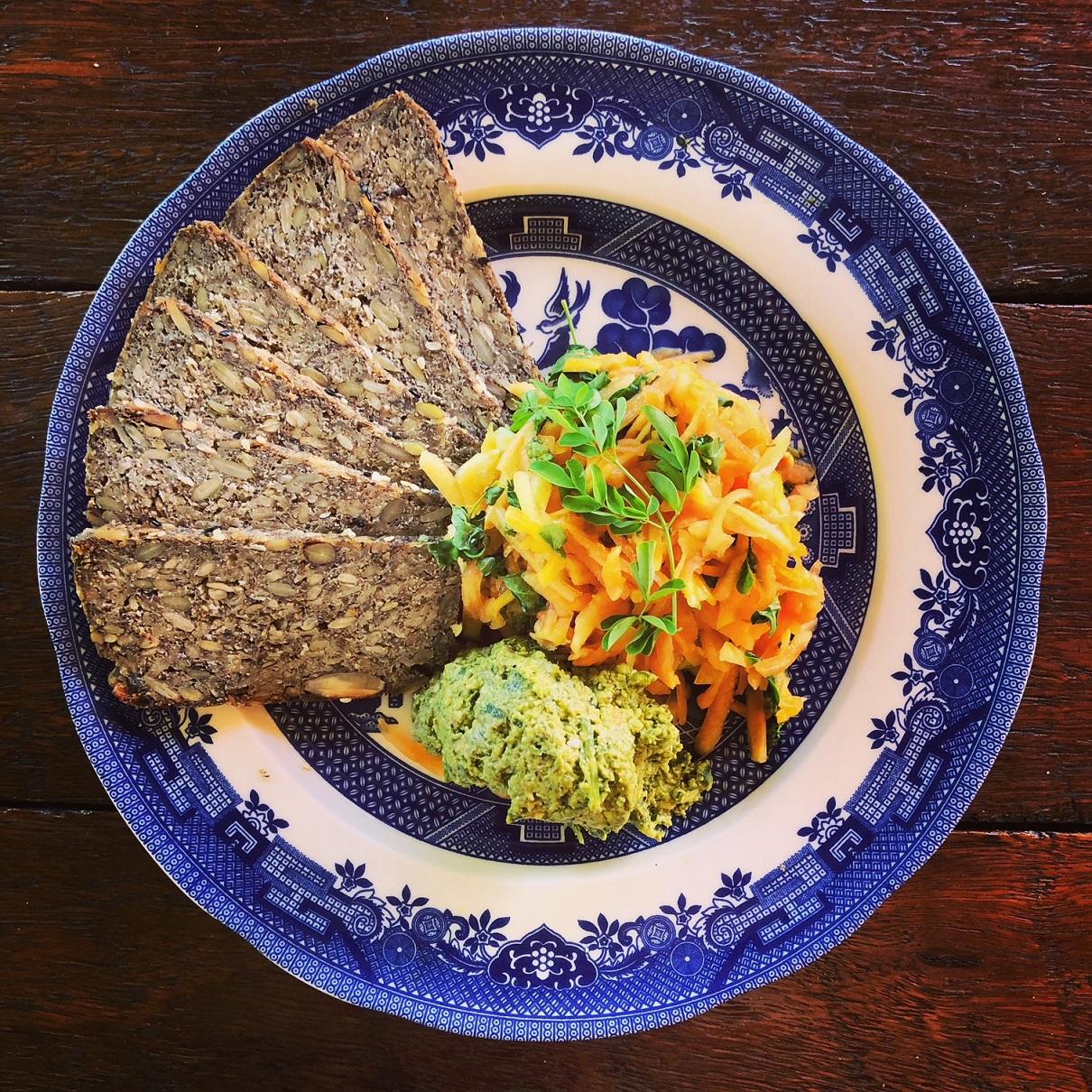 Thinly sliced Seed Loaf with Papaya Salad and Sambung Pesto