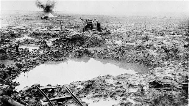 This tank was bogged down in the mud at Passchendaele when a German artillery barrage destroyed it.