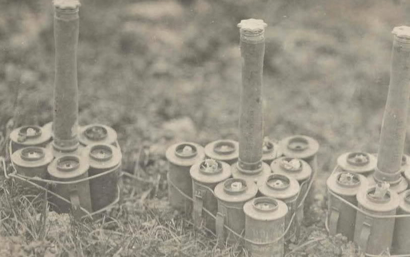 Some improvised German Anti-Tank grenades. Landships like the one in my poster used mesh to deflect these away from the hull.