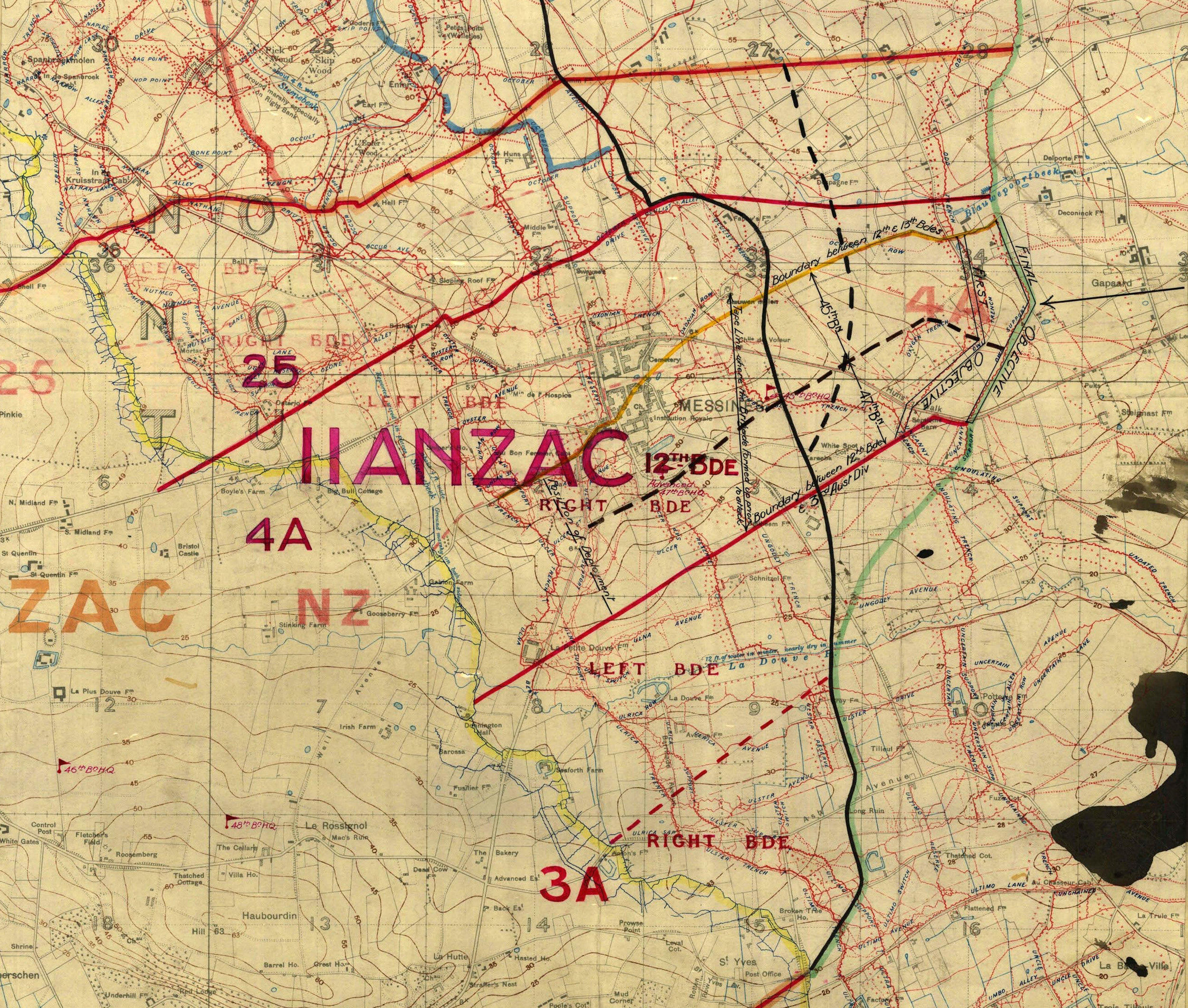 Battle plan for the 2nd ANZAC Corps. The town of Messines can be seen above '12th Bde'.