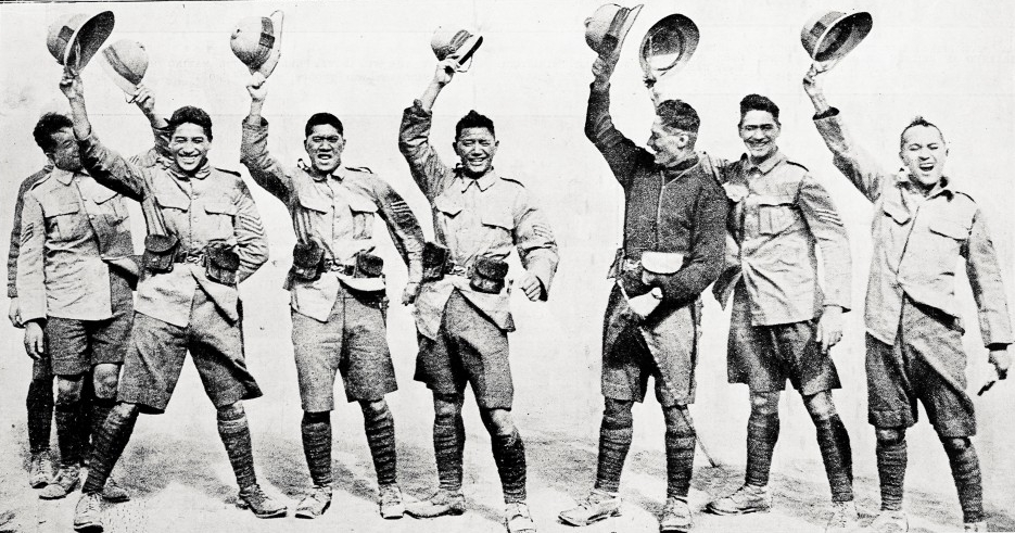 'Hurrah for the King!' - Members of the Maori contingent in the New Zealand camp at Zeitoun before their departure.